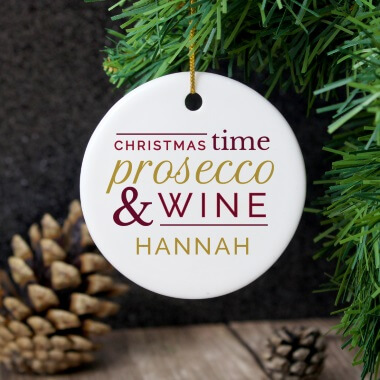 Personalised Prosecco & Wine Round Ceramic Christmas Decoration
