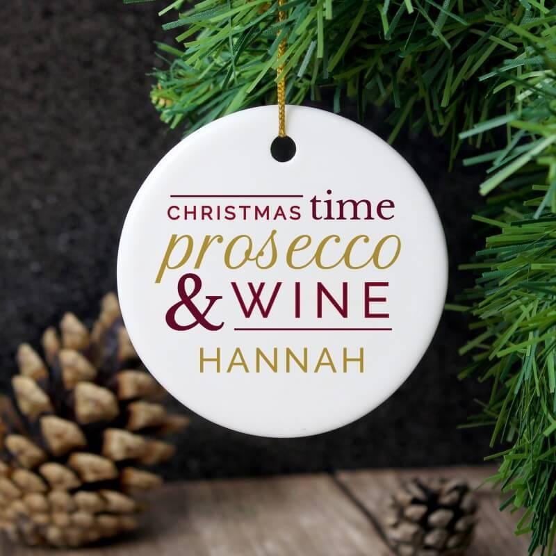 Personalised Prosecco & Wine Round Ceramic Christmas Decoration