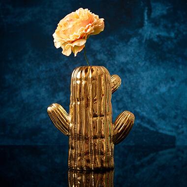 Large Gold Cactus Vase