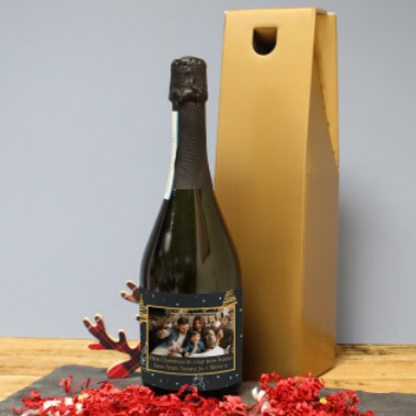 Personalised Christmas Photo Label Prosecco