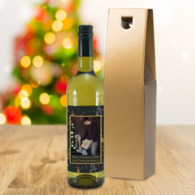 Personalised Christmas Photo Label White Wine