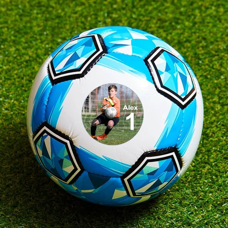 Personalised Photo Football - Small Blue