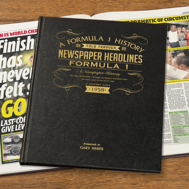 Personalised Formula 1 Newspaper Book