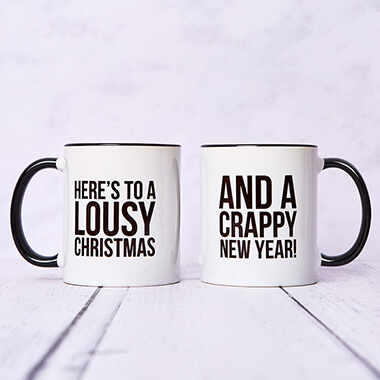Lousy Christmas and Crappy New Year Mug Set of Two