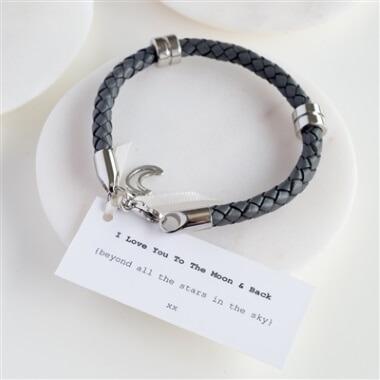 Personalised Leather Moon & Back Men's Bracelet
