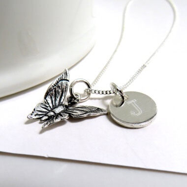 Personalised Mini Disc and Butterfly Necklace