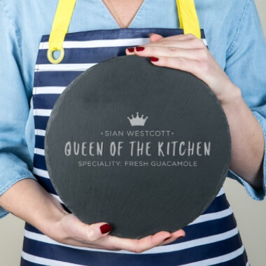 Personalised Queen of the Kitchen Slate Serving Board