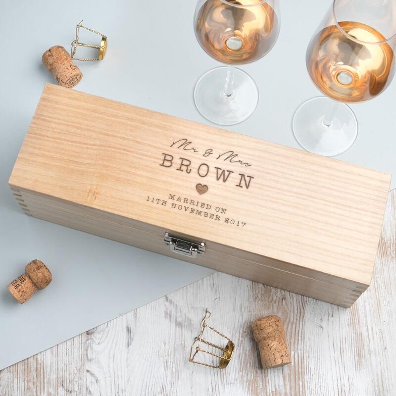 Personalised Wedding Wooden Wine Gift Box