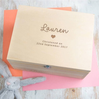 Personalised Christening Keepsake Memory Box