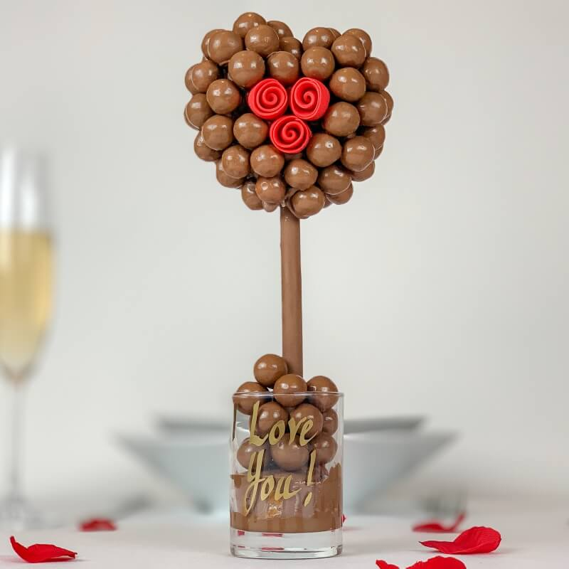Personalised Malteser Heart Rose Sweet Tree