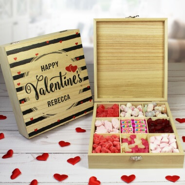 Personalised Valentine's Wooden Sweet Box
