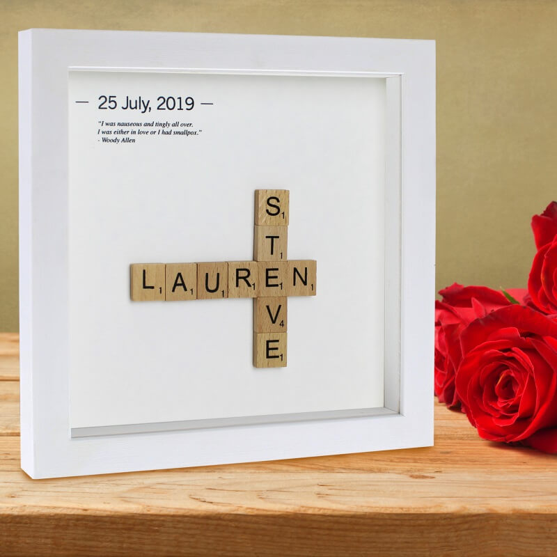Click to view product details and reviews for Personalised Couples Wooden Letter Tiles Frame.
