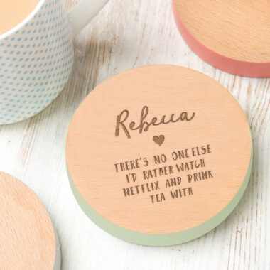 Personalised Watch Netflix and Drink Tea Coaster