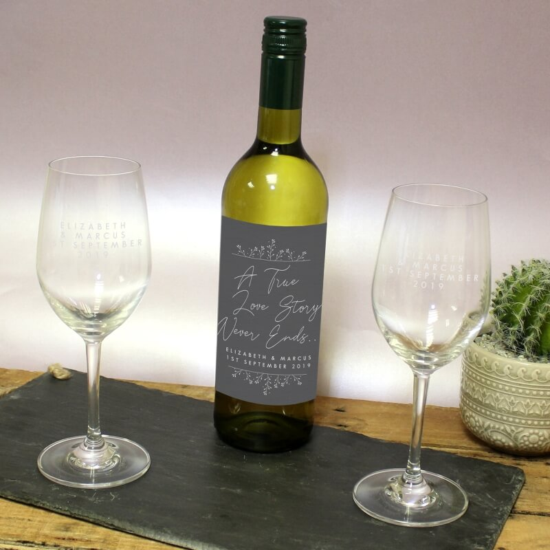Personalised True Love Story Wine and Glass Gift Set