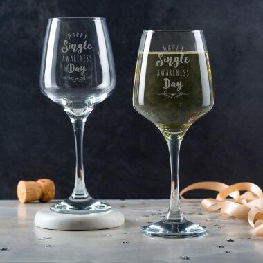 Single Awareness Day Wine Glass