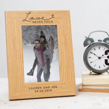 Personalised Love Never Fails Photo Frame