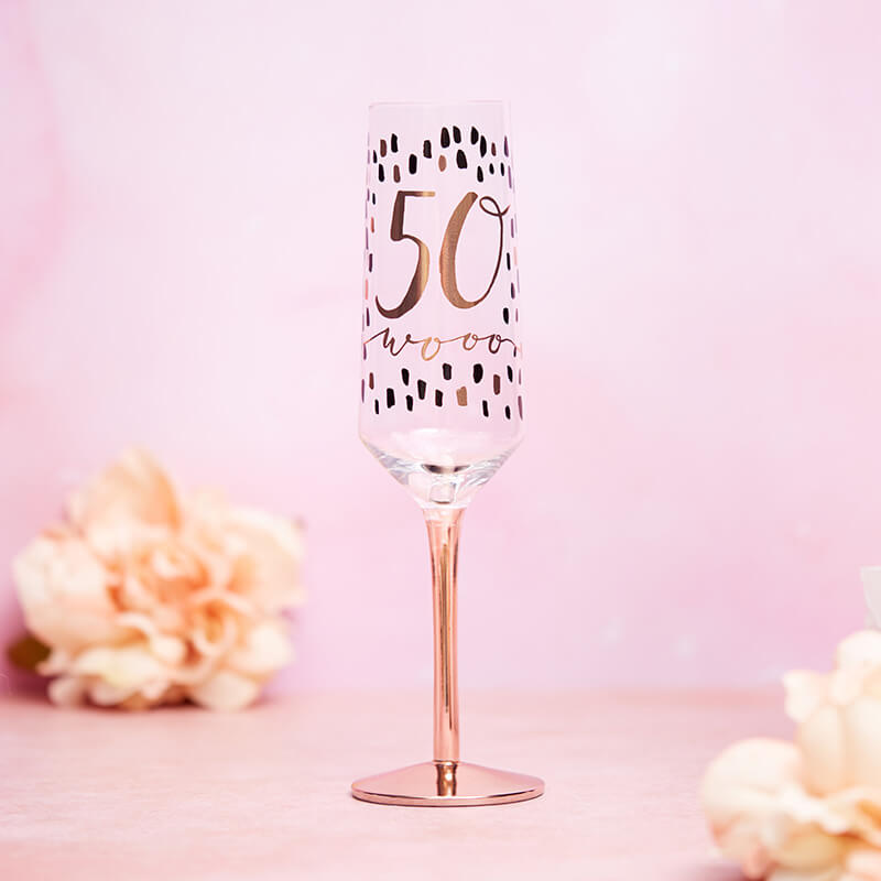 Luxe 50th Birthday Champagne Flute
