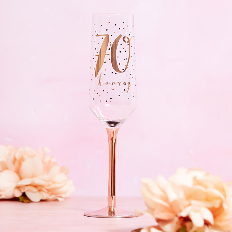 Luxe 70th Birthday Champagne Flute