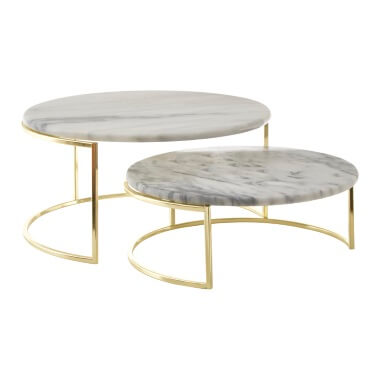 White Marble Cake Stands - Set Of 2