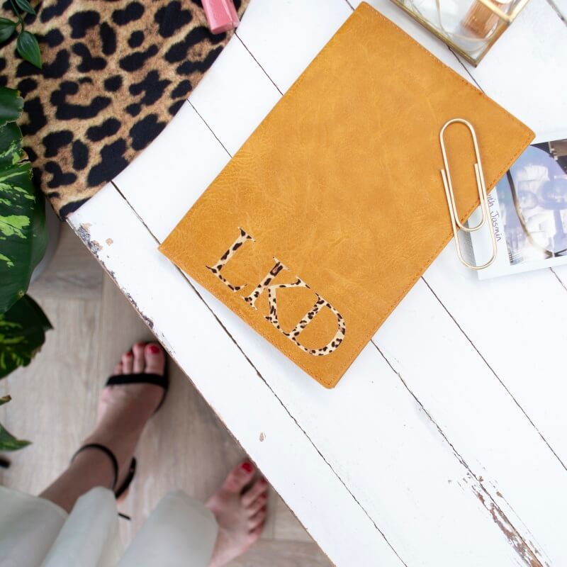Personalised Leopard Leather Notebook