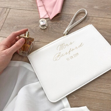 Personalised Brides Wedding Clutch Bag