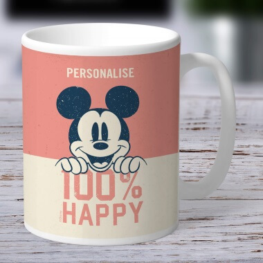 Personalised Disney Mickey Mouse 100% Happy Mug
