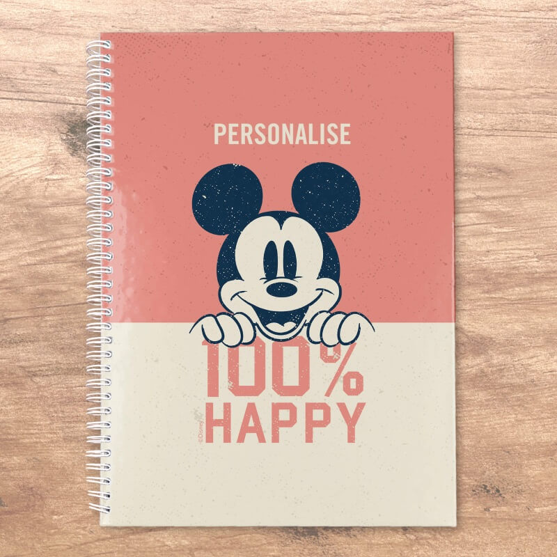Personalised Mickey Mouse 100% Happy Notepad