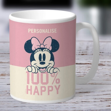 Personalised Disney Minnie Mouse 100% Happy Mug