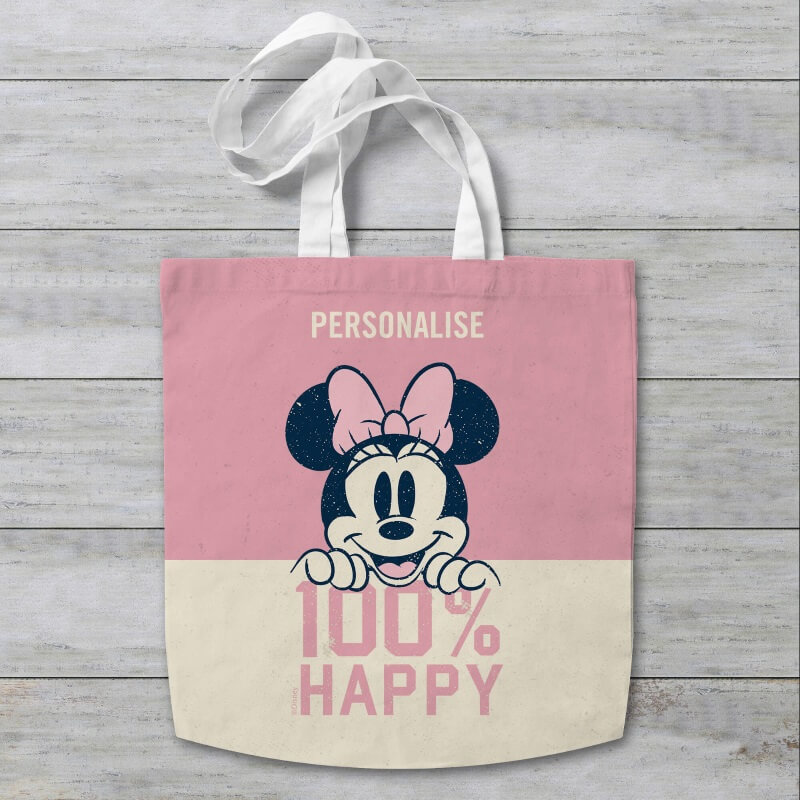 Personalised Disney Minnie Mouse 100% Happy Tote Bag