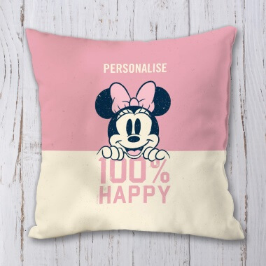 Personalised Disney Minnie Mouse 100% Happy Cushion