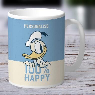 Personalised Disney Donald Duck 100% Happy Mug