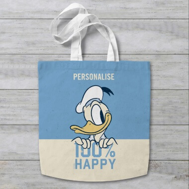 Personalised Disney Donald Duck 100% Happy Tote Bag