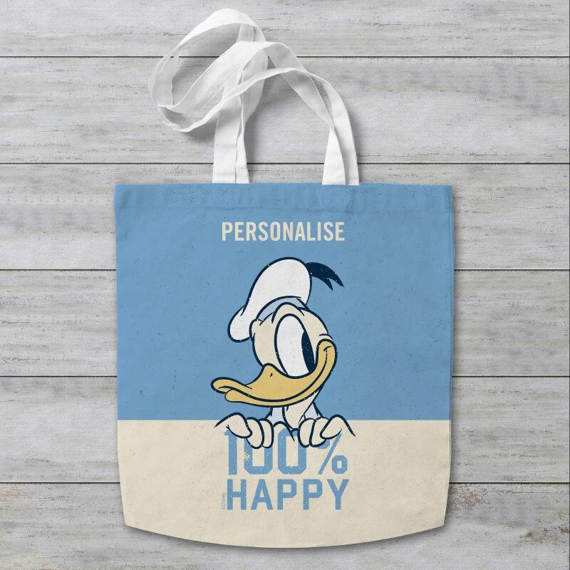 Personalised Disney Donald Duck 100% Happy Tote Bag