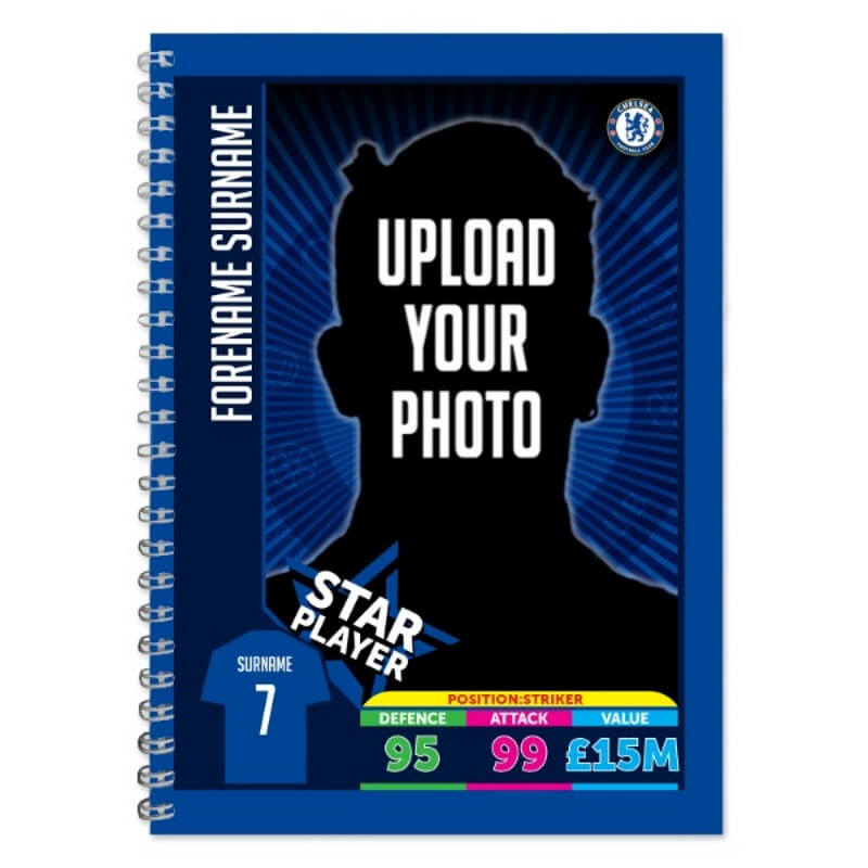 Personalised Chelsea FC Trading Card A5 Lined Notepad