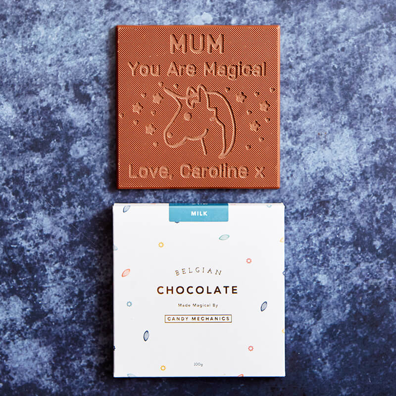 Personalised Unicorn Magical Mum Chocolate Card