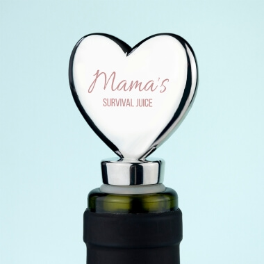 Personalised Mama's Survival Juice Heart Bottle Stopper