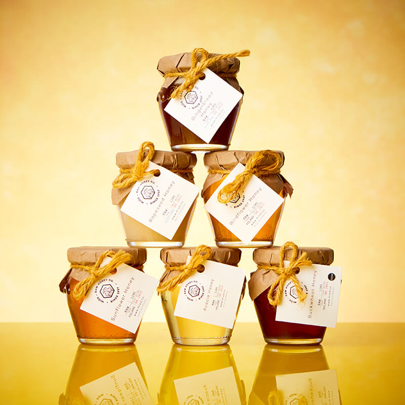Miod Raw Honey Wooden Gift Box - Selection Of 6