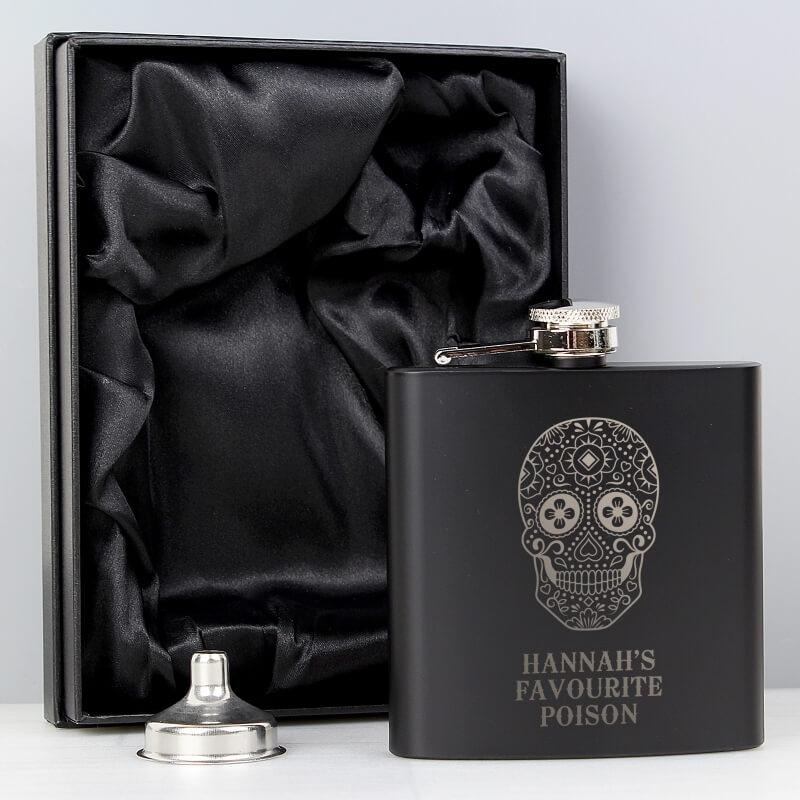 Personalised Sugar Skull Black Hip Flask