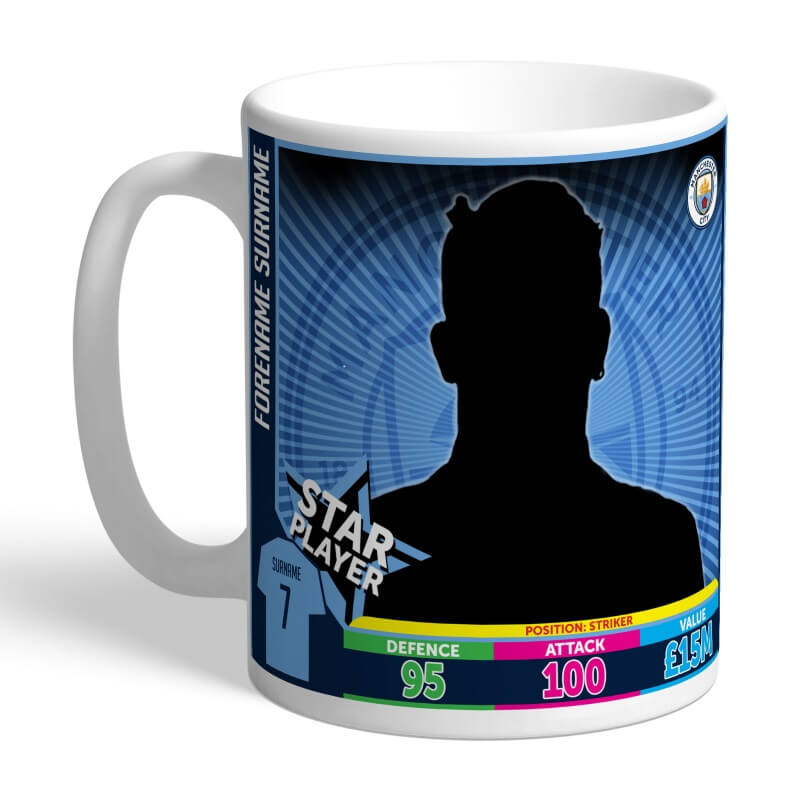 Personalised Manchester City FC Trading Card Mug