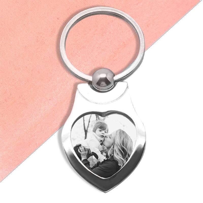 Personalised Photo Memories Heart Keyring