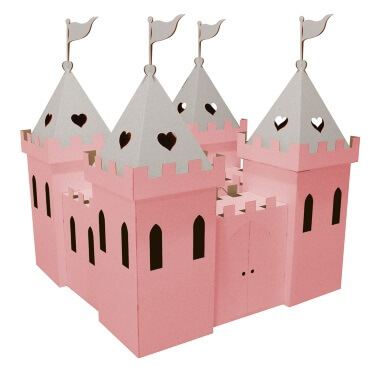 Cardboard Princess Palace - Pink and Silver