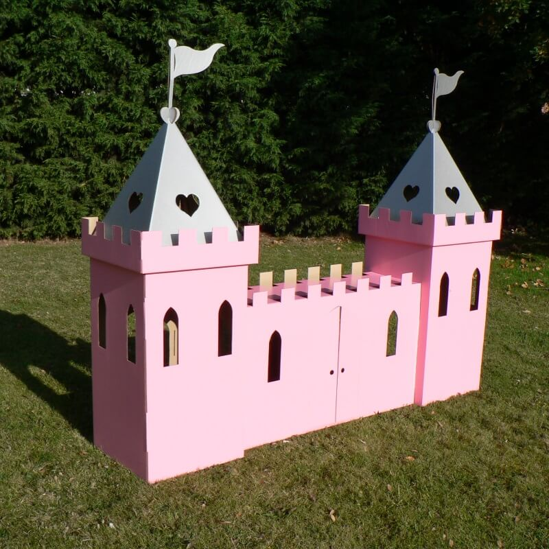 Large Cardboard Princess Castle - Pink and Silver