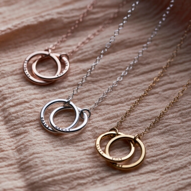 Personalised Medium Double Hoop Names Necklace