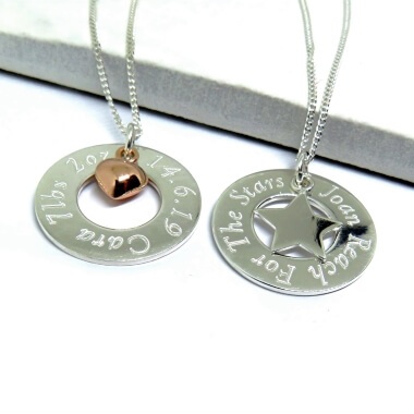 Personalised Sterling Silver Eternity Necklace With Mini Charm