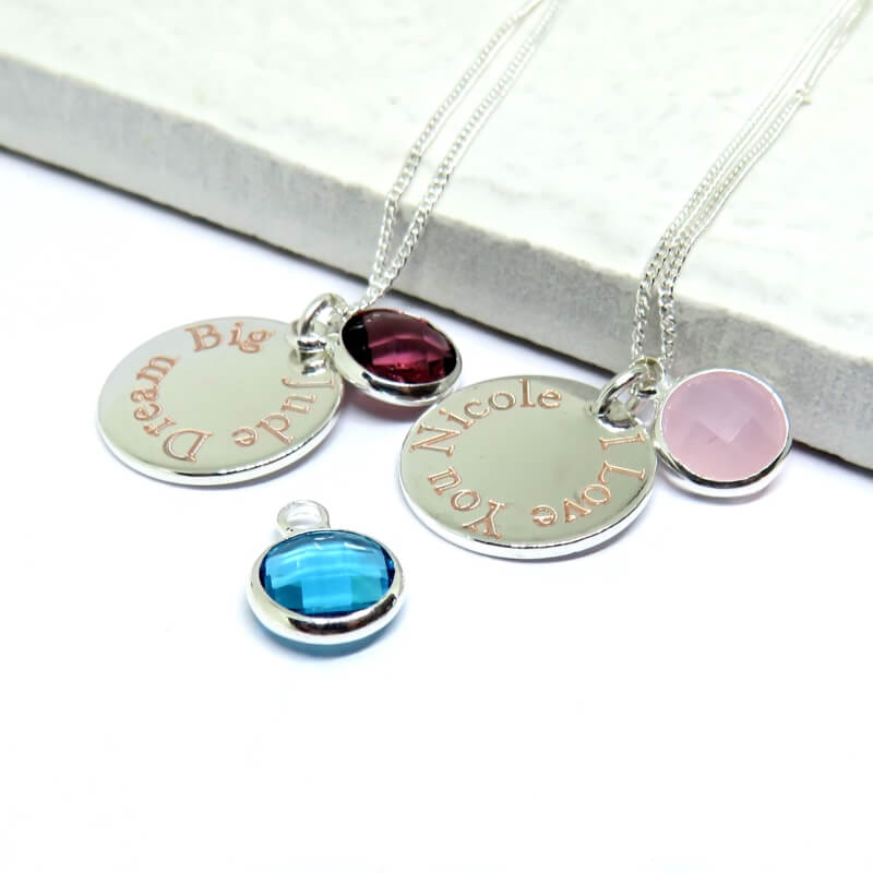 Personalised Engraved Edge Birthstone Necklace