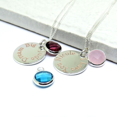 Personalised Engraved Edge Birthstone Necklace