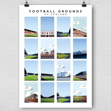 Premier League Current Grounds Football Print