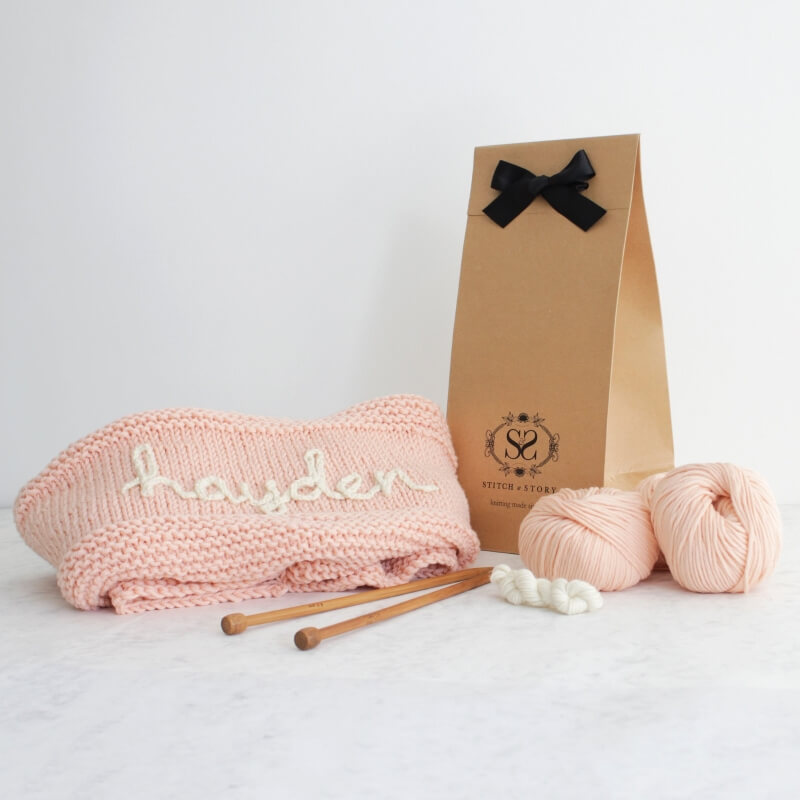Knit Your Own Baby Name Blanket - Pink