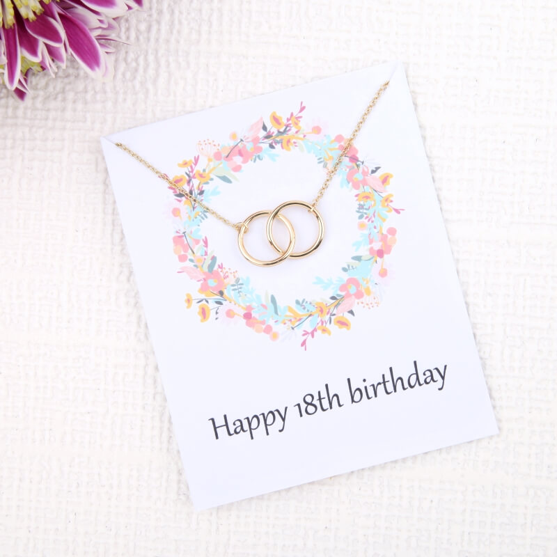 Image of 18th Birthday Flower Card Necklace