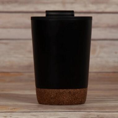 Personalised Black Cork Coffee Tumbler